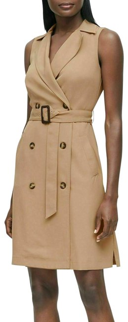 Item - Khaki Double Breasted Trench Mid-length Work/Office Dress Size 2 (XS)