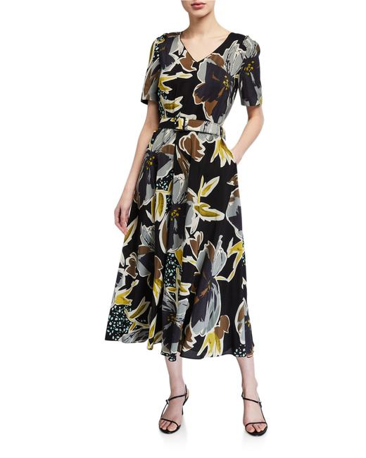 Item - Multicolor Roland Belted Poppy Floral Silk Mid-length Work/Office Dress Size 4 (S)