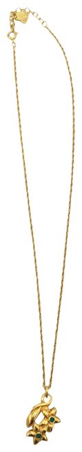 Item - Gold Metal Green Stone Dainty Flower #35509 Necklace