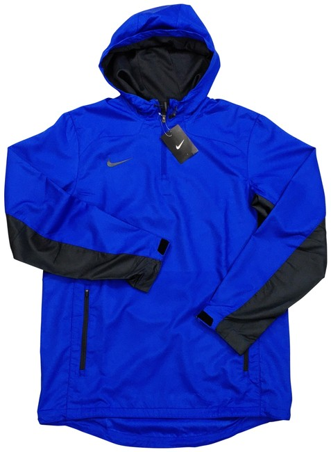 Item - Blue Black Woven Water Repellent Training Lined 1/4 Zip Hooded Activewear Outerwear Size 10 (M)