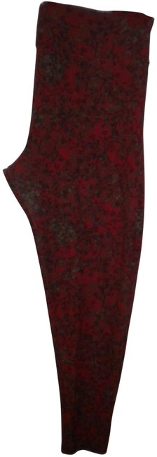Item - Red Tall & Curvy Soft Women Floral Leggings Size OS (one size)