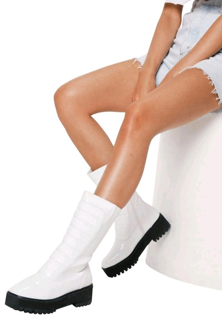 Item - White Faux Leather Platform New Boots/Booties Size US 6 Regular (M, B)
