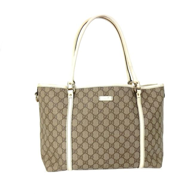 Item - Carry All Brown and White Supreme Gg Monogram Canvas Leather Shoulder Bag