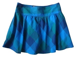 Aéropostale Mini Blue Gathered Lined Mini Skirt Plaid Blues, multi
