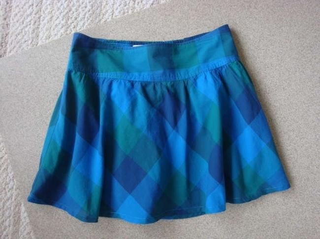 Aéropostale Mini Gathered Lined Mini Skirt Plaid Blues, multi