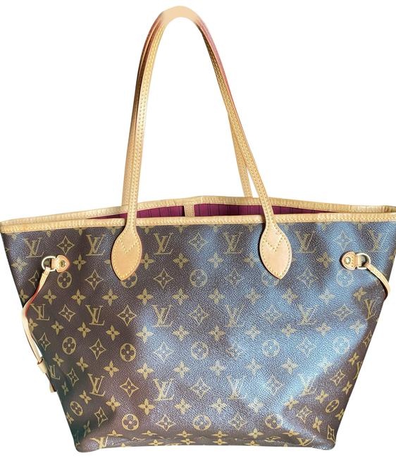 Item - Neverfull Mm Monogram Hot Pink Pivone Lining Brown Canvas Tote
