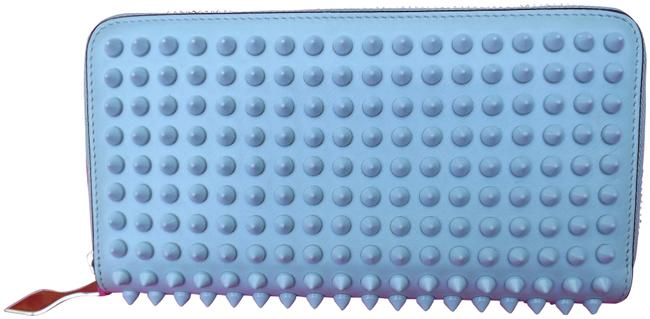 Item - Blue Leather Spikes Panettone Zip Around Wallet