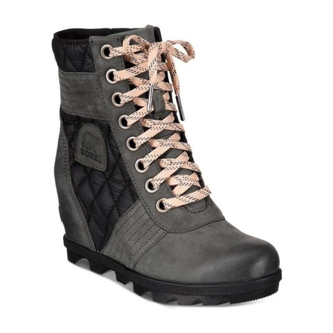 Item - Gray Lexie Wedge Lace Up Quilted Winter Snow Weatherproof Boots/Booties Size US 6 Regular (M, B)