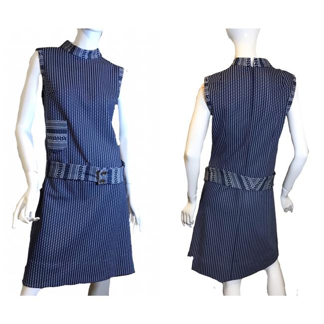 Item - Blue 1960s Geometric Dotted Sleeveless A-line White Mid-length Work/Office Dress Size 8 (M)