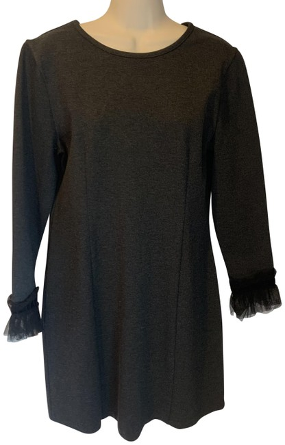 Item - Charcoal Grey Sheath with Tulle/Velvet Cuffs Mid-length Work/Office Dress Size 8 (M)