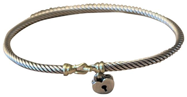 Item - Silver with Gold Buckle Cable Bangle Floating Heart Locket Bracelet
