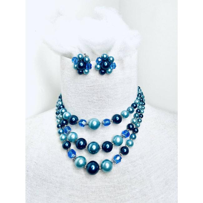 Item - Blue Vtg Silver Necklace Clip On Earrings Jewelry Set