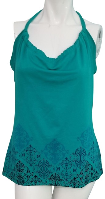 Item - Teal Yoga Tank with Built In Bra Large Paisley Neck Activewear Top Size 12 (L)