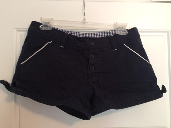 Lux Bow Button Up Piping Urban Outfitters Mini/Short Shorts Navy Image 2