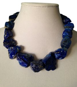 Kenneth Jay Lane Big Chunk Polished Lapis Necklace