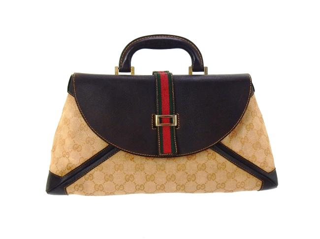 Item - Bag Mini Shopper Brown Gg Monogram Canvas and Leather Tote