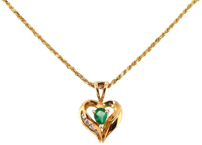 """Unbranded Yellow Gold Diamond and Emerald 14k Heart 18"""" Necklace Unbranded Yellow Gold Diamond and Emerald 14k Heart 18"""" Necklace Image 1"""