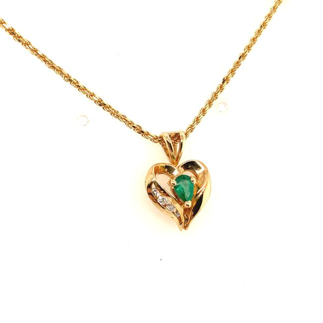 """Unbranded Yellow Gold Diamond and Emerald 14k Heart 18"""" Necklace Unbranded Yellow Gold Diamond and Emerald 14k Heart 18"""" Necklace Image 2"""