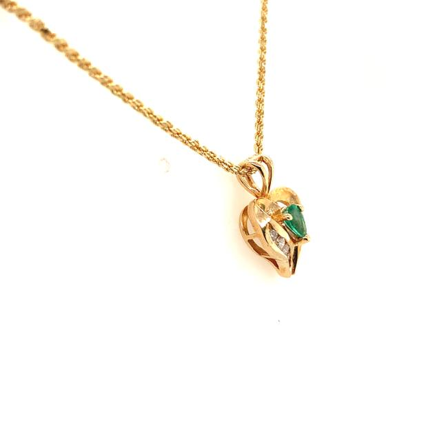 """Unbranded Yellow Gold Diamond and Emerald 14k Heart 18"""" Necklace Unbranded Yellow Gold Diamond and Emerald 14k Heart 18"""" Necklace Image 3"""