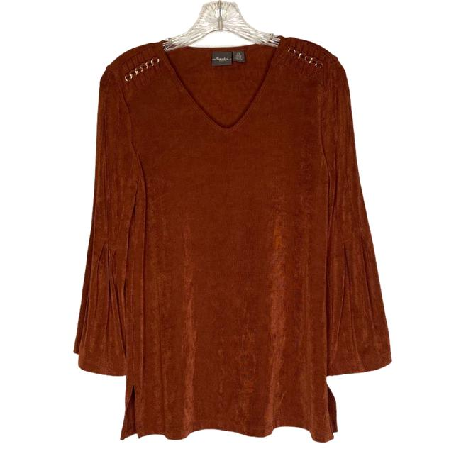 Item - Brown Rust Bell Sleeve V-neck Gold Chain Accent Tunic Size 6 (S)