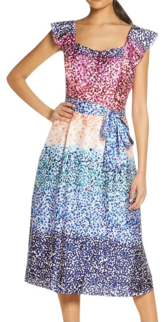 Item - Ombe Multicolor French Twill Midi Mid-length Work/Office Dress Size 6 (S)
