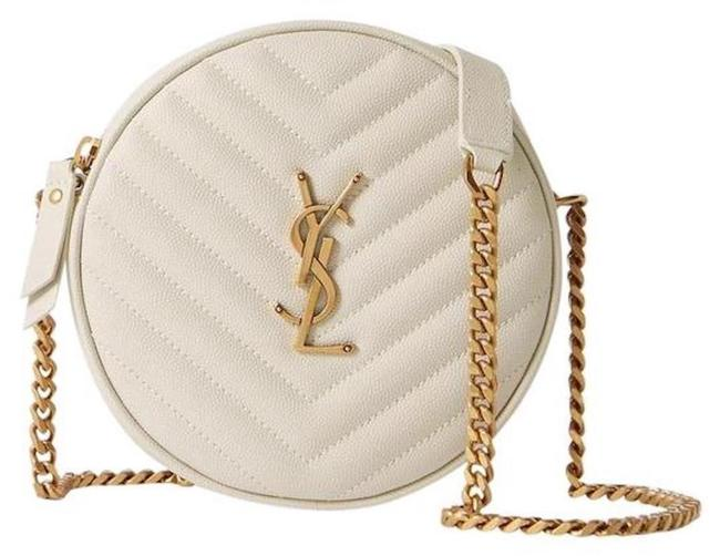 Item - New Round Ysl Purse Off White Leather Cross Body Bag