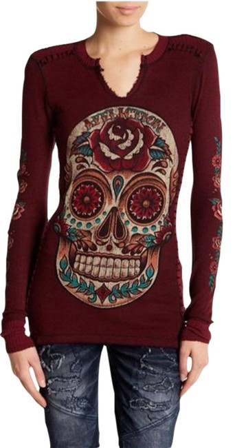 Item - Red Black Sugar Skull Long Sleeve Graphic Reversible Thermal S Tee Shirt Size 6 (S)