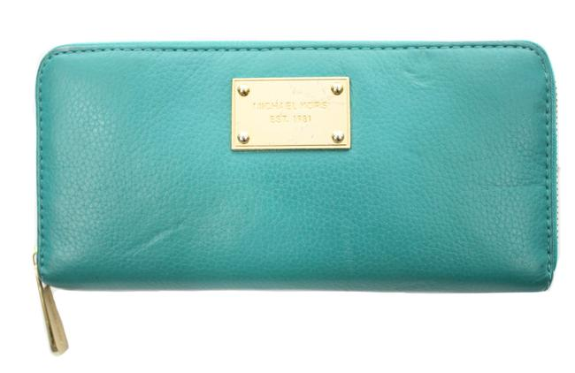 Item - Zip Around Wallet Turquoise Leather Clutch