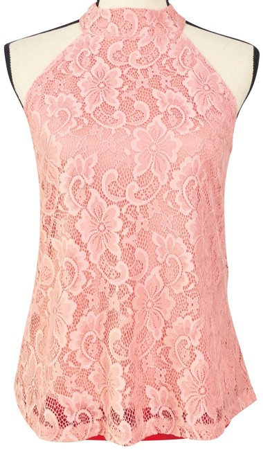 Item - Salmon Lace Lined Sleeveless Blouse Tank Halter Top Size 16 (XL, Plus 0x)