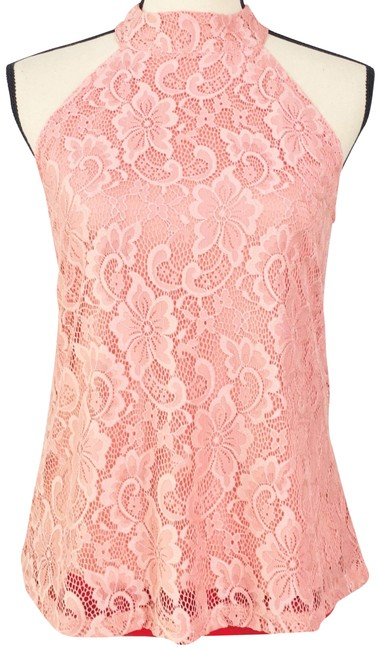 Item - Salmon Lace Lined Sleeveless Blouse Tank Halter Top Size 6 (S)