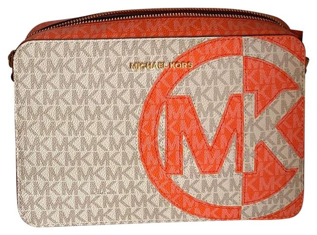 Item - Mm Monogram and Canvas White/Orange with Tan Shoulder Strap Leather Cross Body Bag