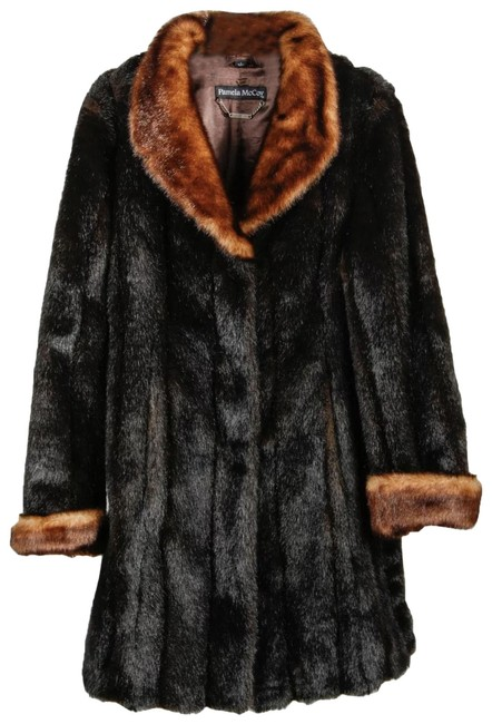 Item - Black and Brown Collar Cuffs Faux Women's Coat Size 4 (S)
