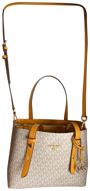 Item - Shoulder Bag Shoulder Bag/Carry White with Yellow Accents Leather Satchel