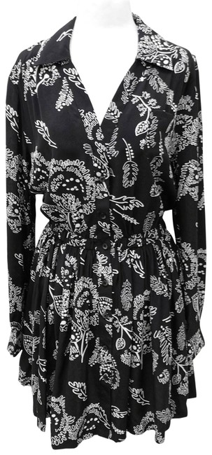 Item - Black and White Silk Floral Print Long Sleeve Short Work/Office Dress Size 8 (M)