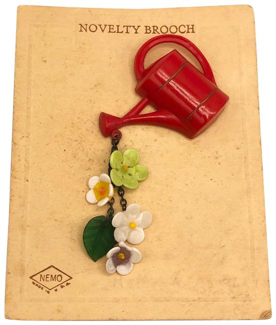 Item - Red Watering Can Brooch Pin