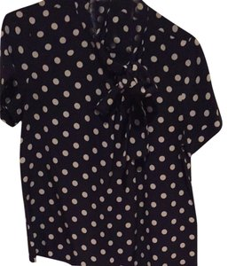J.Crew Top Navy/Creme Polka Dot