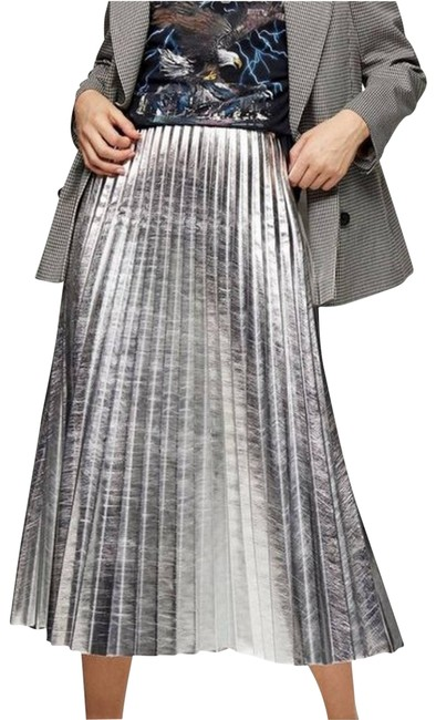 Item - Silver Pleated Skirt Size 12 (L, 32, 33)