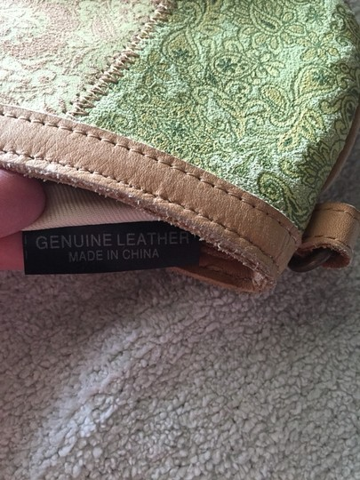 Macy's Bohemian Leather Green Yellow Multi Color Clutch