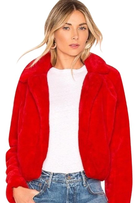 Item - Red Faux Cropped Jacket M Coat Size 8 (M)