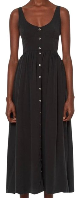 Item - Black Button Front Midi Mid-length Casual Maxi Dress Size 0 (XS)