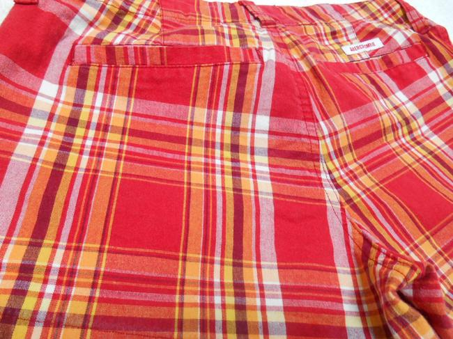 Abercrombie & Fitch A F Cotton Cotton Spandex Preppy Summer Campus Mini/Short Shorts Red Orange Yellow White