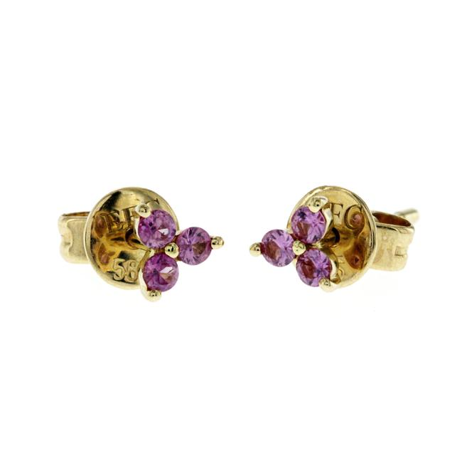 Item - Yellow 14k Gold 0.26 Ct Pink Sapphire Trio Earrings