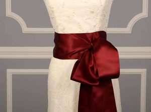 Dark Ruby Red Ribbon Sash 4
