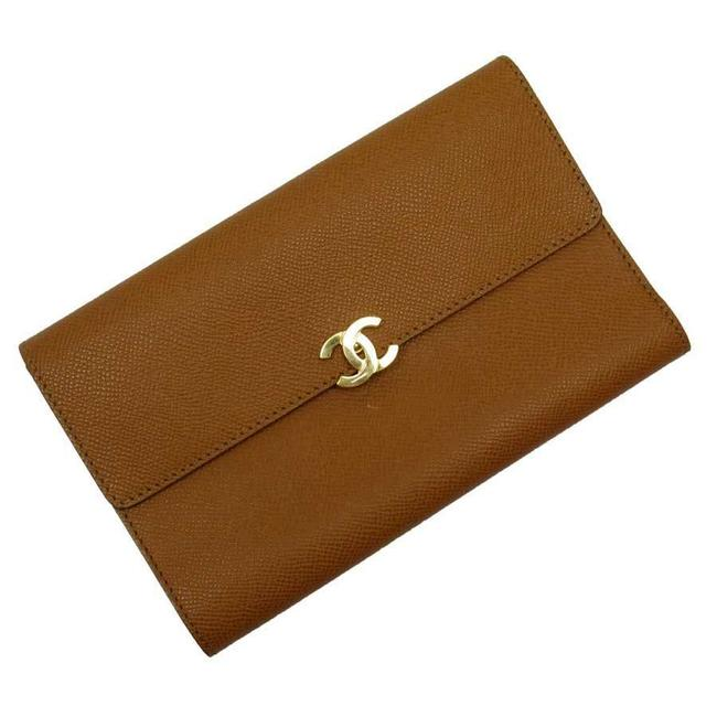 Item - Brown / Gold Tri-fold Coco Mark Leather Wallet