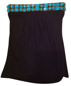 Cache Strapless Strapless Blue And Blue Tube Top Black