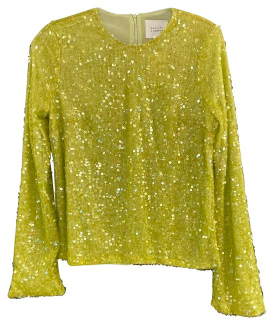 Item - Sequined Long Sleeve Green Top