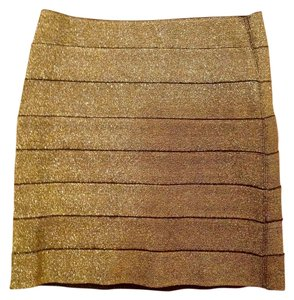 Forever 21 21 21 Bandage Bandage Sparkle Shimmer Shimmer Mini Skirt Black and Metallic Gold