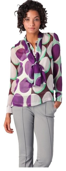 Diane von Furstenberg Dvf Dariana Top White, Purple, Green