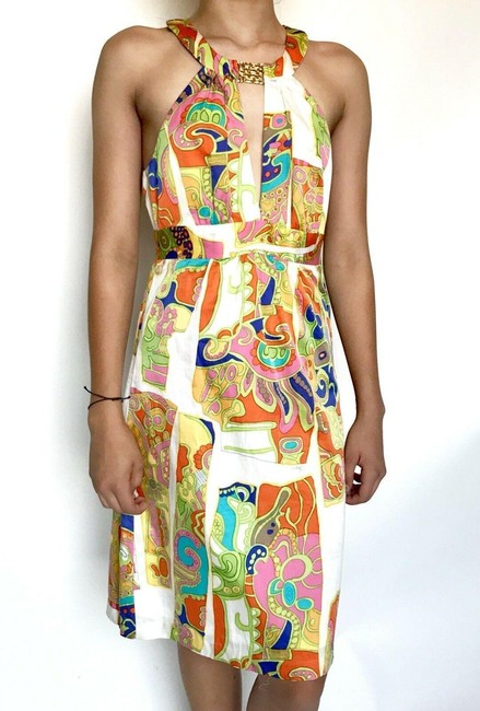Item - Multi-color Halter Mid-length Night Out Dress Size 0 (XS)
