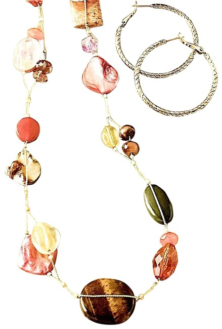 Item - Maggie Stones Gold Earrings Necklace